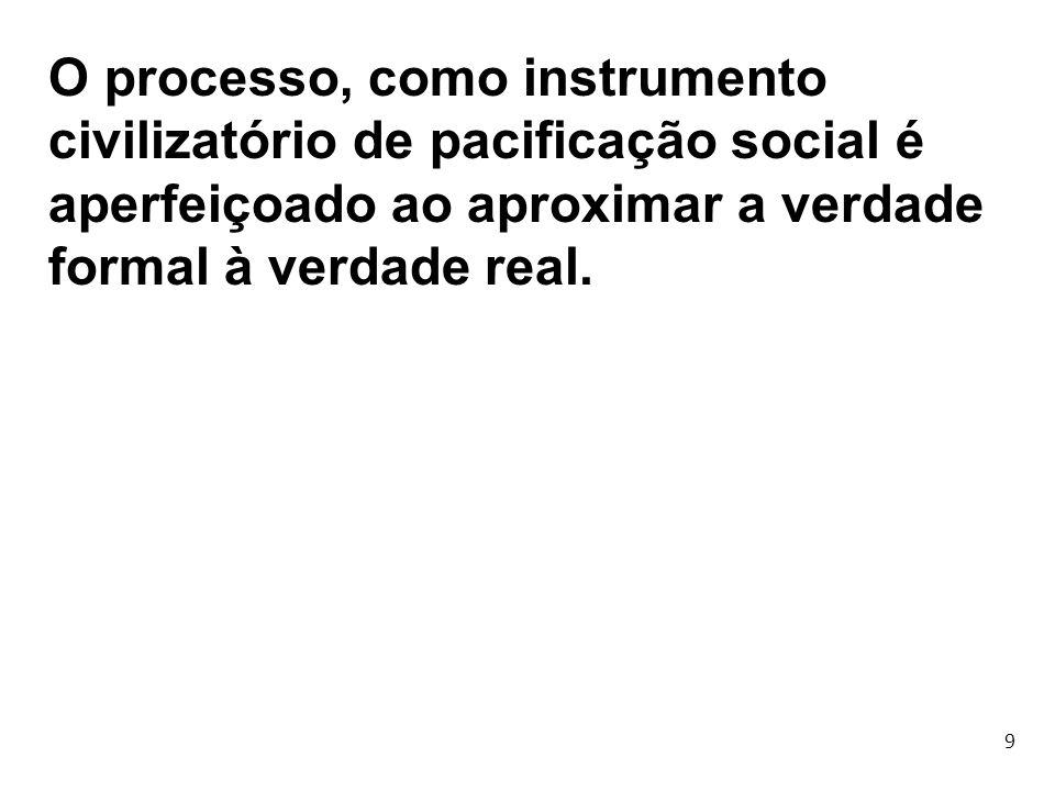 9 O processo, como instrumento civilizatório de pacificação social é aperfeiçoado ao aproximar a verdade formal à verdade real.