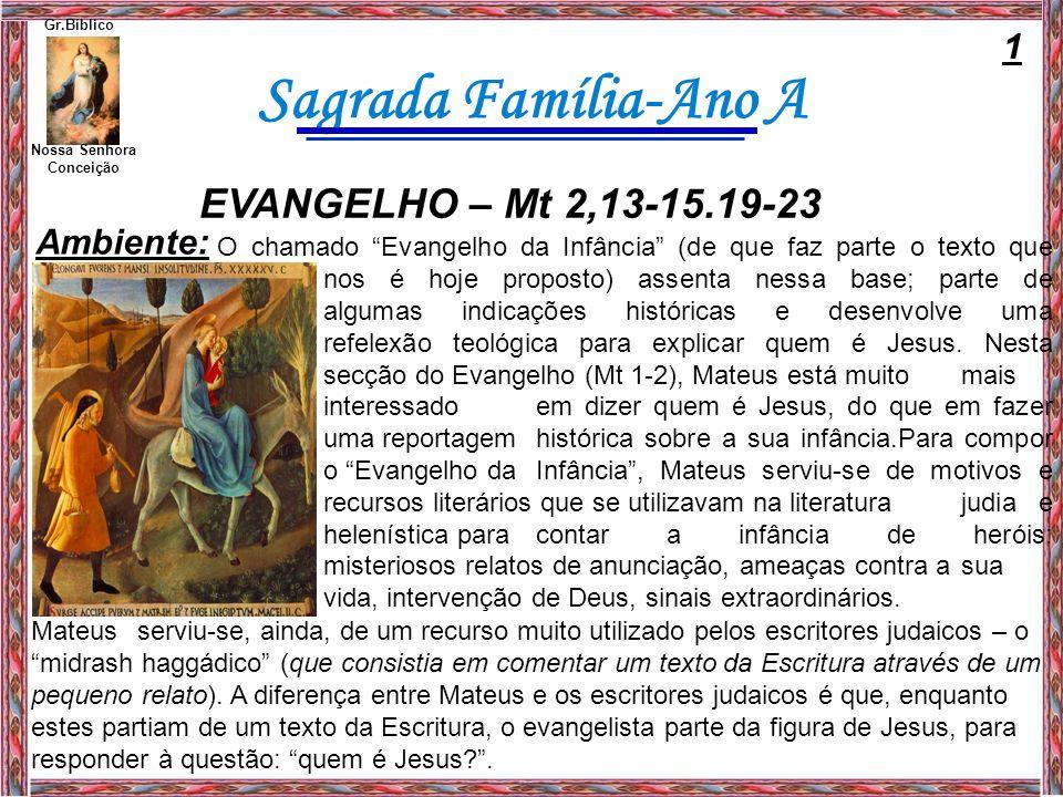 Sagrada Família-Ano A Nossa Senhora Conceição Gr.Bíblico Mateus recorre às antigas profecias para explicar quem é Jesus e qual a sua missão.