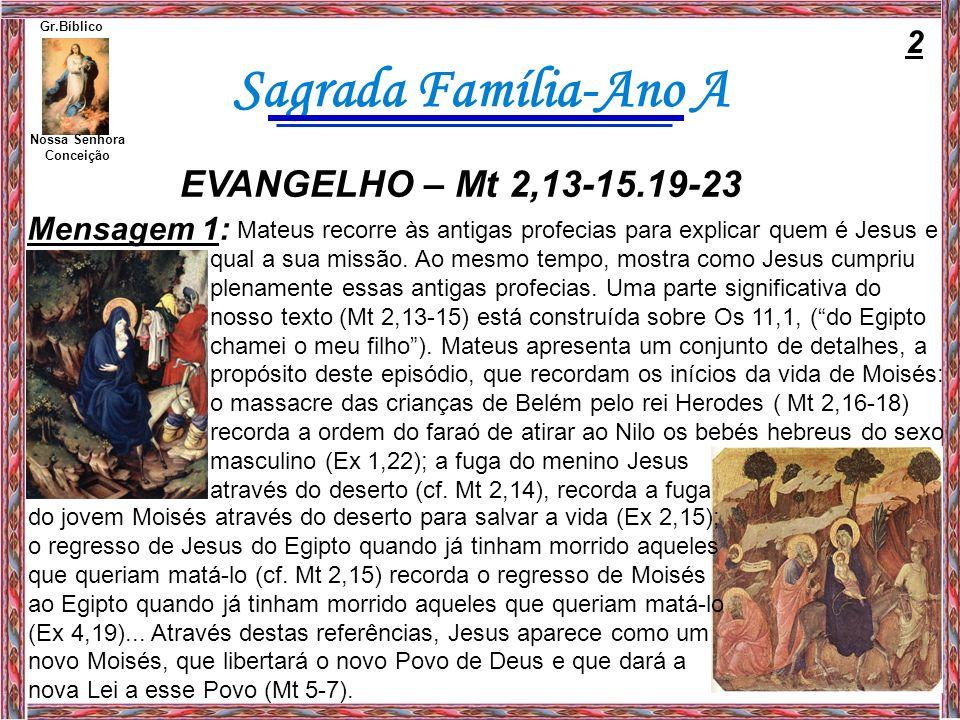 Sagrada Família-Ano A Nossa Senhora Conceição Gr.Bíblico Mensagem 2: Por outro lado, Mateus põe também em paralelo o caminho de Jesus e o caminho do Povo de Israel.