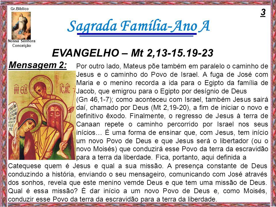 Sagrada Família-Ano A Neste dia em que celebramos a Sagrada Família, convém também determo-nos um pouco sobre esta família de Nazaré.