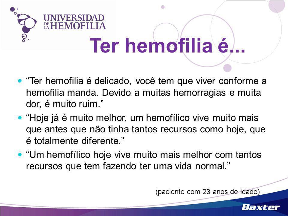 Ter hemofilia é delicado, você tem que viver conforme a hemofilia manda. Devido a muitas hemorragias e muita dor, é muito ruim. Hoje já é muito melhor