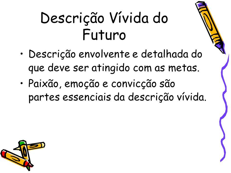 Descrição Vívida do Futuro Descrição envolvente e detalhada do que deve ser atingido com as metas. Paixão, emoção e convicção são partes essenciais da