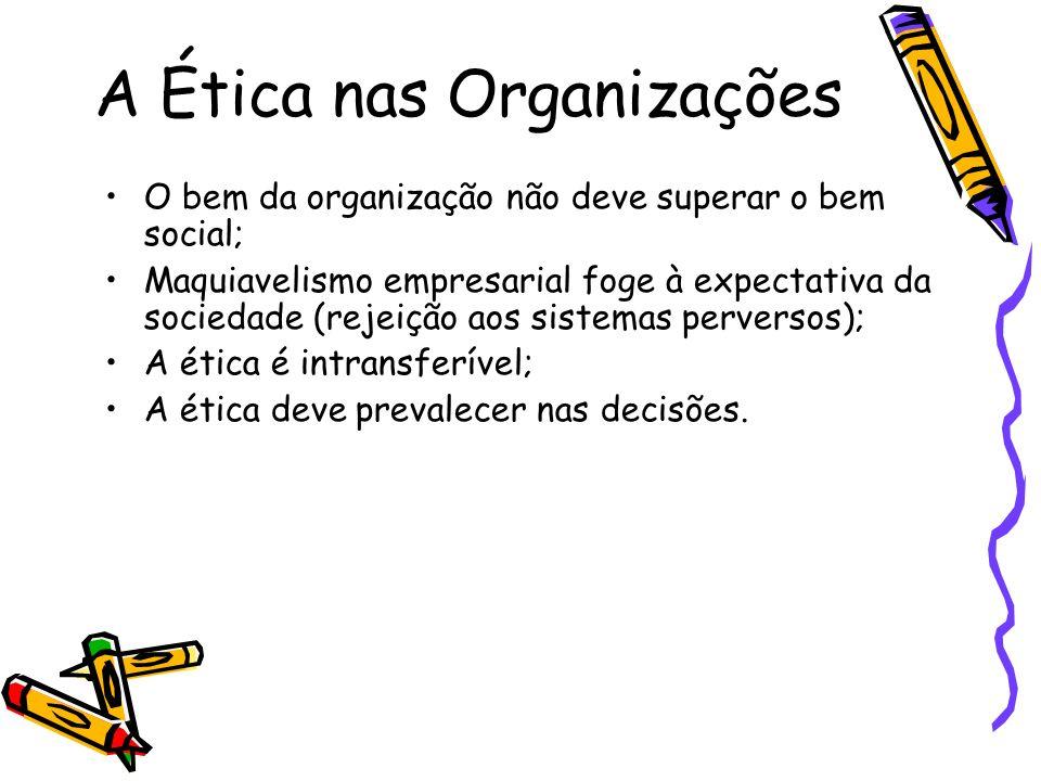 A Ética nas Organizações O bem da organização não deve superar o bem social; Maquiavelismo empresarial foge à expectativa da sociedade (rejeição aos s
