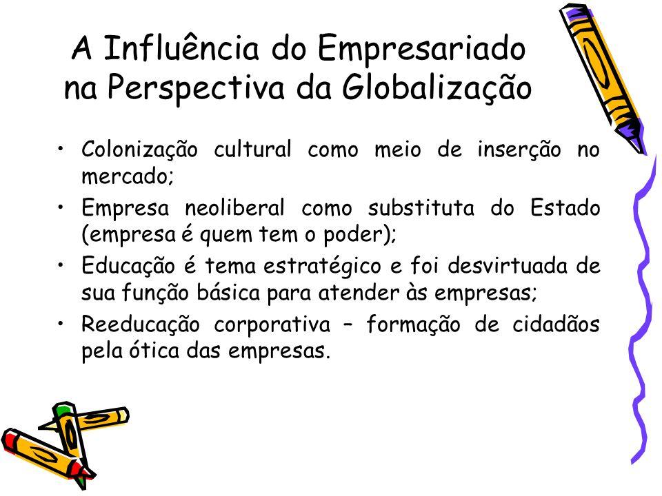 A Influência do Empresariado na Perspectiva da Globalização Colonização cultural como meio de inserção no mercado; Empresa neoliberal como substituta