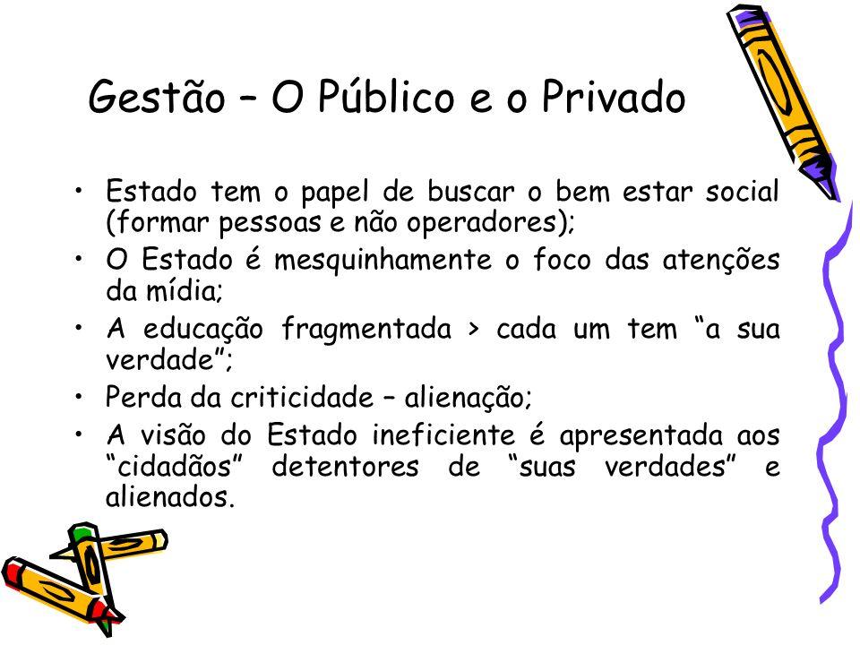 Gestão – O Público e o Privado Estado tem o papel de buscar o bem estar social (formar pessoas e não operadores); O Estado é mesquinhamente o foco das