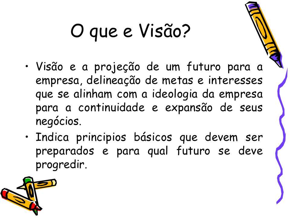 O que e Visão? Visão e a projeção de um futuro para a empresa, delineação de metas e interesses que se alinham com a ideologia da empresa para a conti