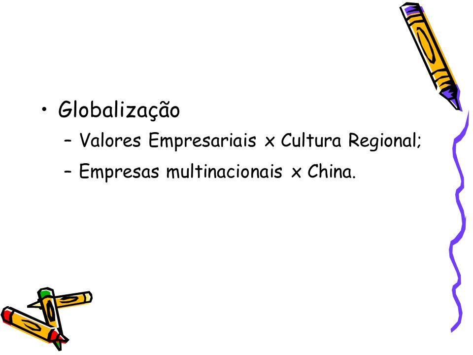 Globalização –Valores Empresariais x Cultura Regional; –Empresas multinacionais x China.