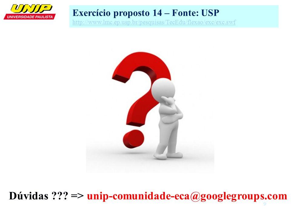9 Exercício proposto 14 – Fonte: USP http://www.lmc.ep.usp.br/pesquisas/TecEdu/flexao/exc/exc.swf Dúvidas ??? => unip-comunidade-eca@googlegroups.com