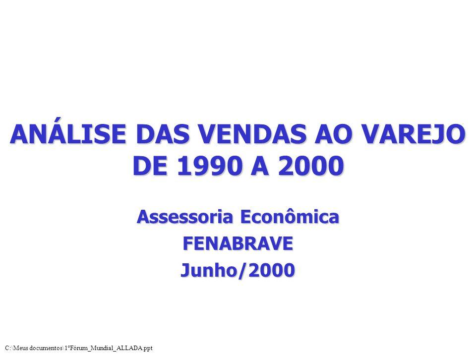 ANÁLISE DAS VENDAS AO VAREJO DE 1990 A 2000 Assessoria Econômica FENABRAVEJunho/2000 C:\Meus documentos\1ºFórum_Mundial_ALLADA.ppt
