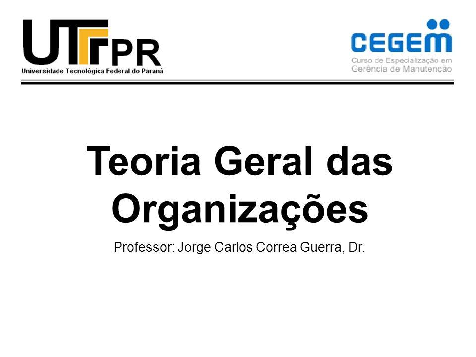Teoria Geral das Organizações Professor: Jorge Carlos Correa Guerra, Dr.