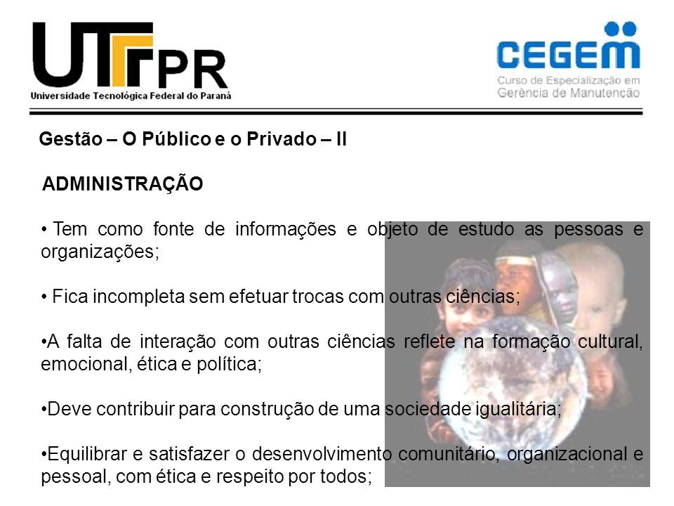 Gestão – O Público e o Privado – II ADMINISTRAÇÃO Tem como fonte de informações e objeto de estudo as pessoas e organizações; Fica incompleta sem efet