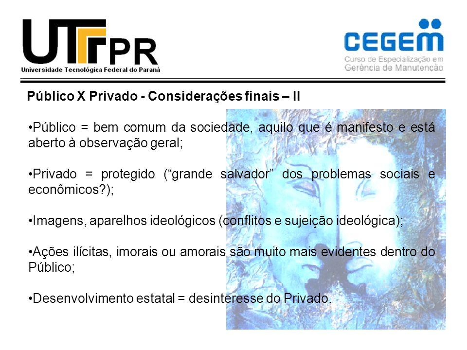Público X Privado - Considerações finais – II Público = bem comum da sociedade, aquilo que é manifesto e está aberto à observação geral; Privado = pro