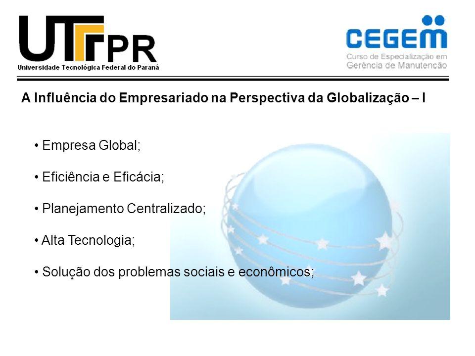 A Influência do Empresariado na Perspectiva da Globalização – I Empresa Global; Eficiência e Eficácia; Planejamento Centralizado; Alta Tecnologia; Sol