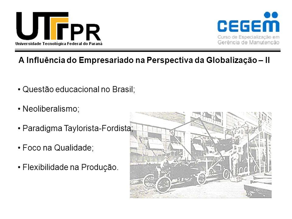 A Influência do Empresariado na Perspectiva da Globalização – II Questão educacional no Brasil; Neoliberalismo; Paradigma Taylorista-Fordista; Foco na