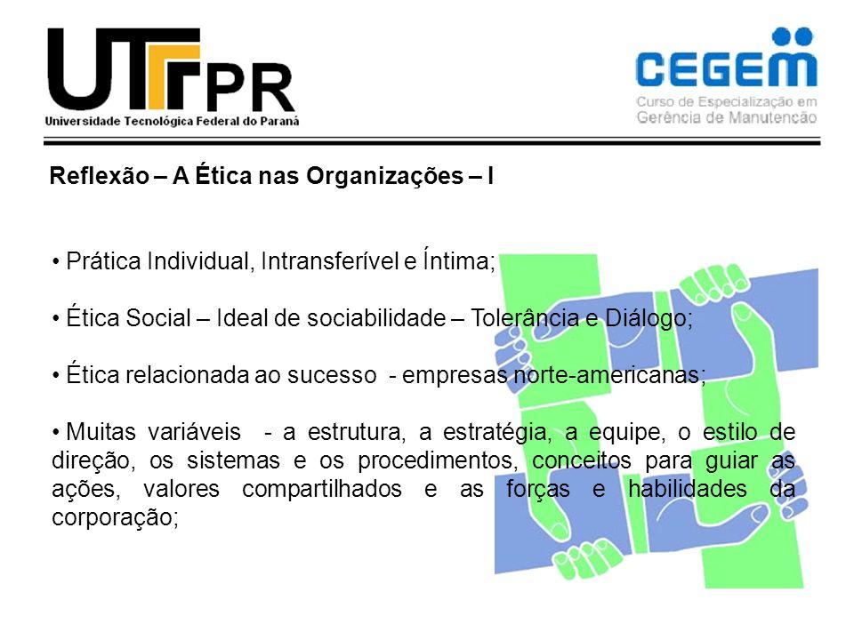 Reflexão – A Ética nas Organizações – I Prática Individual, Intransferível e Íntima; Ética Social – Ideal de sociabilidade – Tolerância e Diálogo; Éti