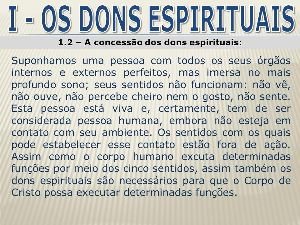 1.2 – A concessão dos dons espirituais: Os dons espirituais acham-se disponíveis à Igreja de Cristo (At 2.39).