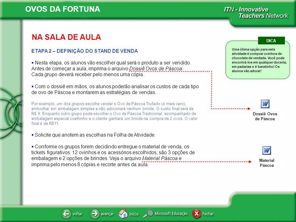 OVOS DA FORTUNA NA SALA DE AULA ETAPA 2 – DEFINIÇÃO DO STAND DE VENDA Nesta etapa, os alunos vão escolher qual será o produto a ser vendido. Antes de