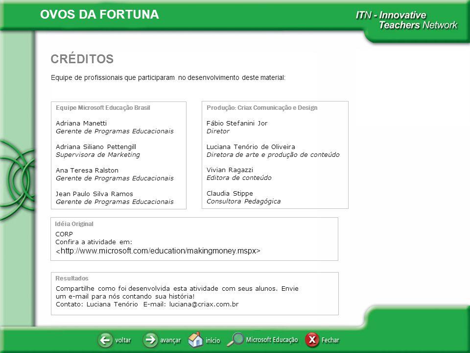 OVOS DA FORTUNA Equipe de profissionais que participaram no desenvolvimento deste material: CRÉDITOS Equipe Microsoft Educação Brasil Adriana Manetti