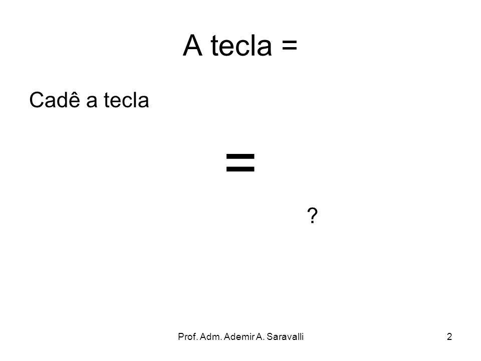 Prof. Adm. Ademir A. Saravalli2 A tecla = Cadê a tecla = ?
