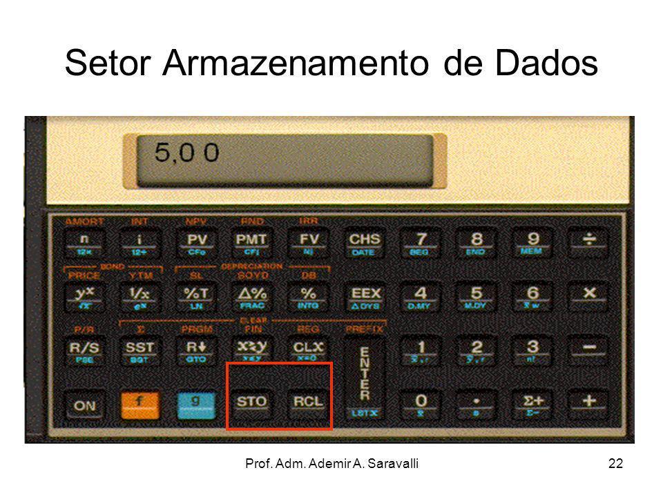 Prof. Adm. Ademir A. Saravalli22 Setor Armazenamento de Dados