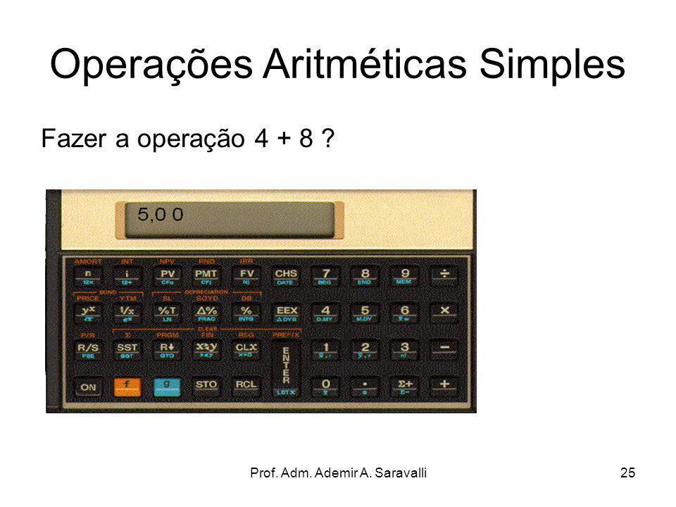 Prof. Adm. Ademir A. Saravalli25 Operações Aritméticas Simples Fazer a operação 4 + 8 ?