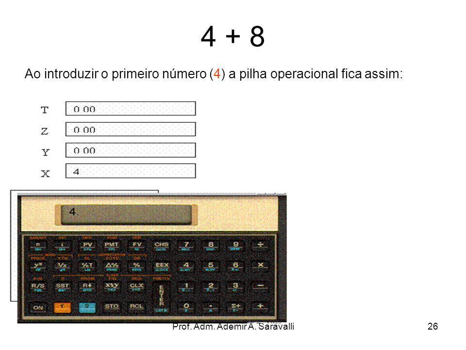 Prof. Adm. Ademir A. Saravalli26 4 + 8 Ao introduzir o primeiro número (4) a pilha operacional fica assim: