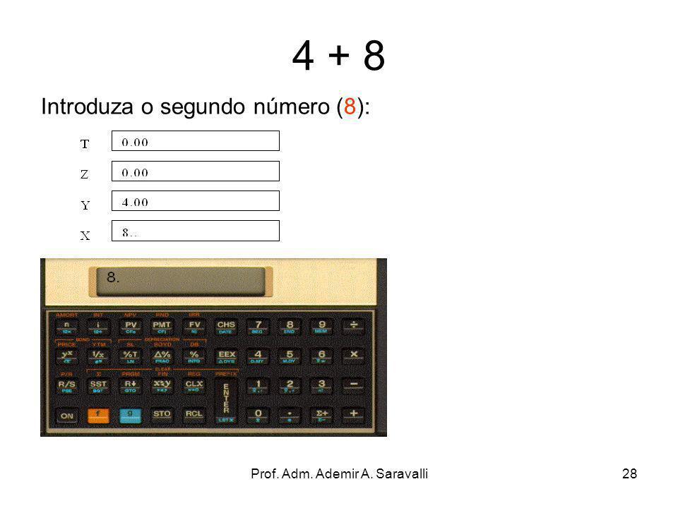 Prof. Adm. Ademir A. Saravalli28 4 + 8 Introduza o segundo número (8):