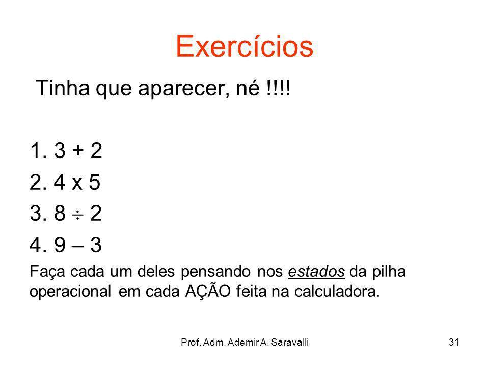 Prof. Adm. Ademir A. Saravalli31 Exercícios Tinha que aparecer, né !!!! 1. 3 + 2 2. 4 x 5 3. 8 2 4. 9 – 3 Faça cada um deles pensando nos estados da p
