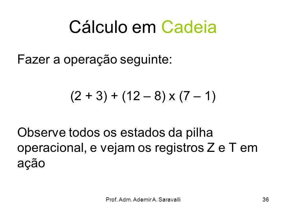 Prof. Adm. Ademir A. Saravalli36 Cálculo em Cadeia Fazer a operação seguinte: (2 + 3) + (12 – 8) x (7 – 1) Observe todos os estados da pilha operacion