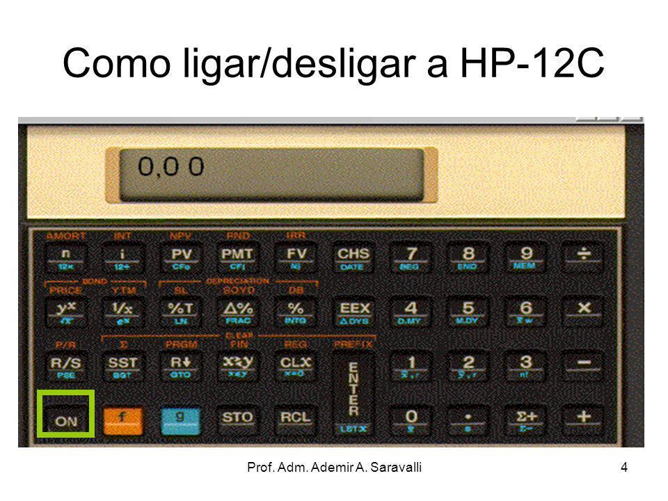 Prof. Adm. Ademir A. Saravalli4 Como ligar/desligar a HP-12C