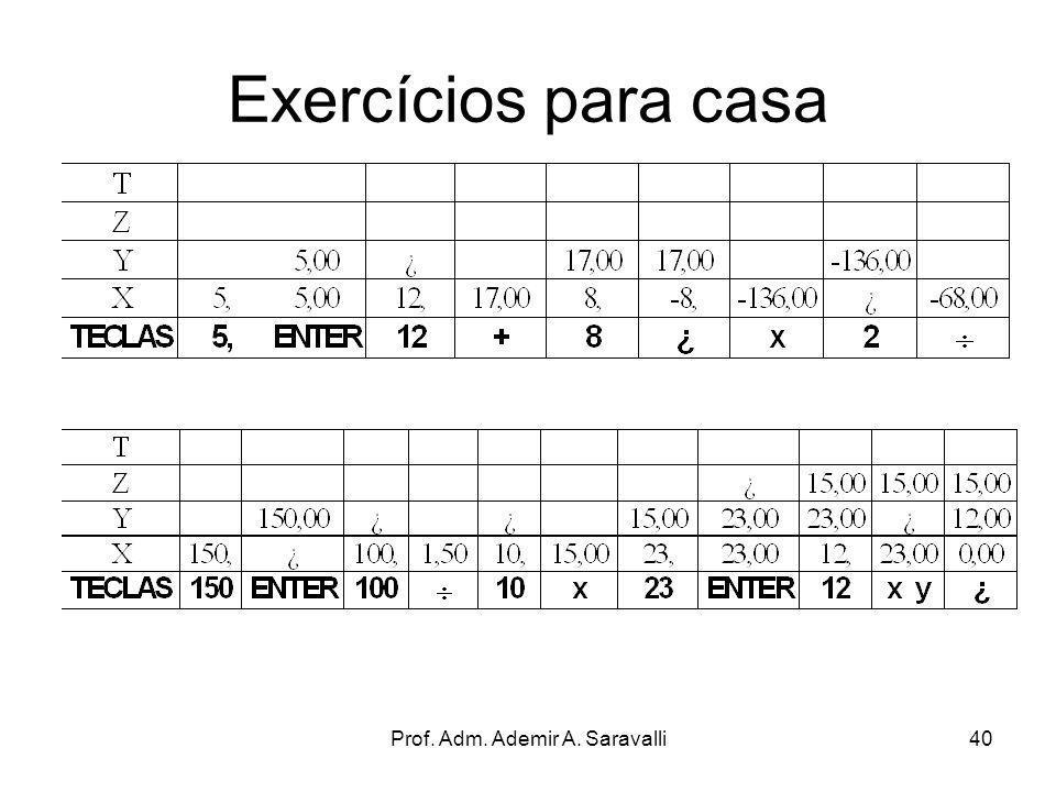 Prof. Adm. Ademir A. Saravalli40 Exercícios para casa