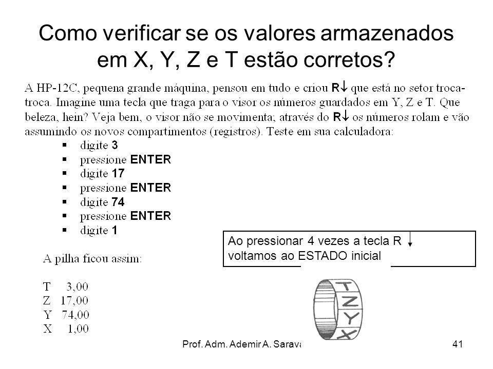 Prof. Adm. Ademir A. Saravalli41 Como verificar se os valores armazenados em X, Y, Z e T estão corretos? Ao pressionar 4 vezes a tecla R voltamos ao E