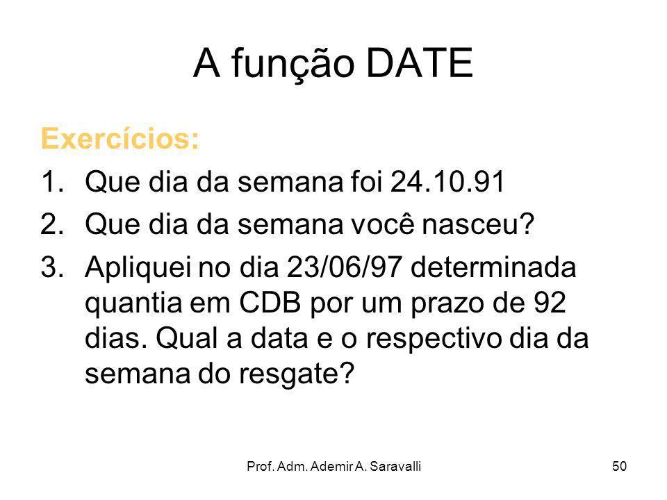 Prof. Adm. Ademir A. Saravalli50 A função DATE Exercícios: 1.Que dia da semana foi 24.10.91 2.Que dia da semana você nasceu? 3.Apliquei no dia 23/06/9
