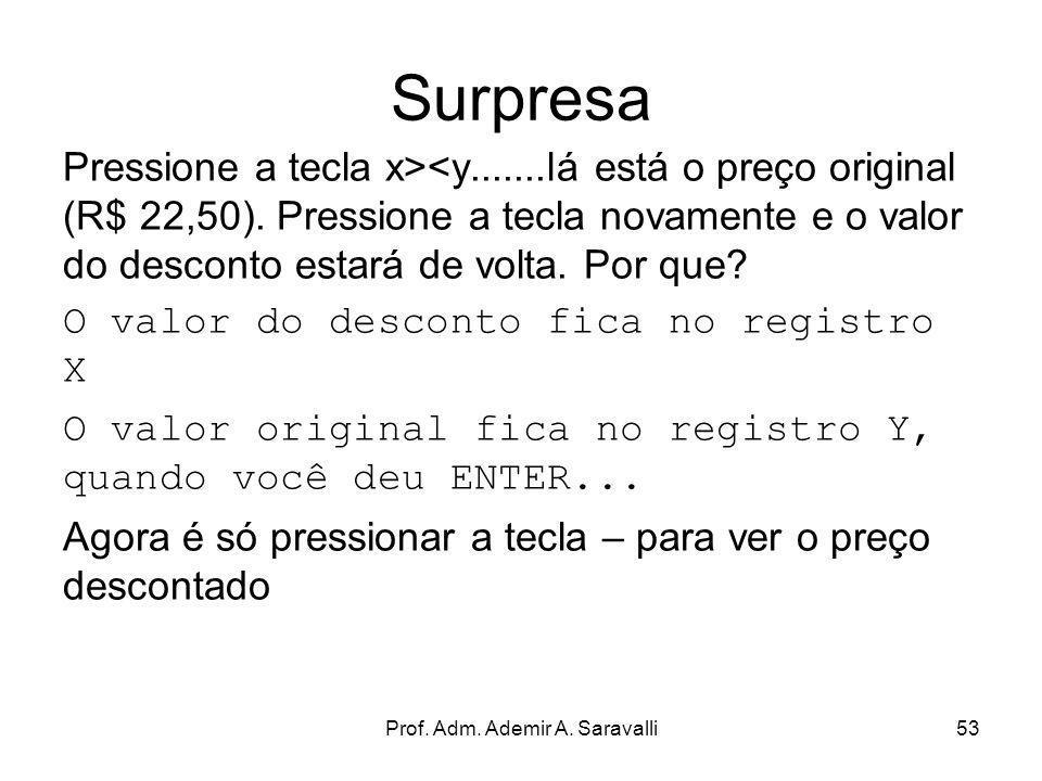 Prof. Adm. Ademir A. Saravalli53 Surpresa Pressione a tecla x><y.......lá está o preço original (R$ 22,50). Pressione a tecla novamente e o valor do d