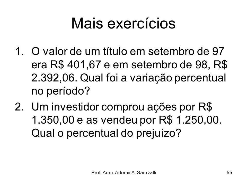 Prof. Adm. Ademir A. Saravalli55 Mais exercícios 1.O valor de um título em setembro de 97 era R$ 401,67 e em setembro de 98, R$ 2.392,06. Qual foi a v