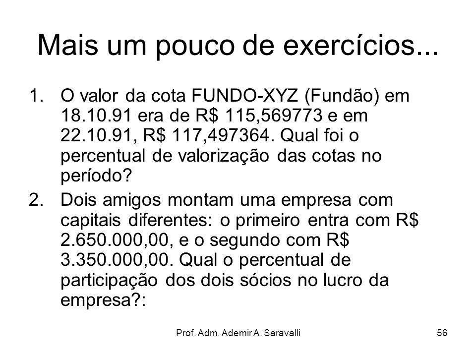 Prof. Adm. Ademir A. Saravalli56 Mais um pouco de exercícios... 1.O valor da cota FUNDO-XYZ (Fundão) em 18.10.91 era de R$ 115,569773 e em 22.10.91, R