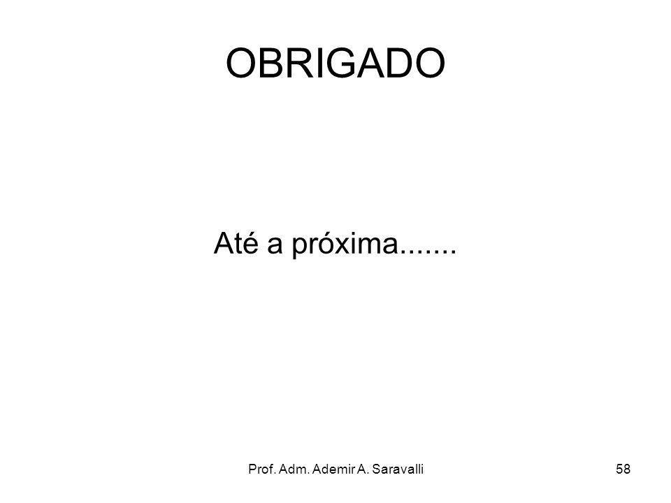 Prof. Adm. Ademir A. Saravalli58 OBRIGADO Até a próxima.......