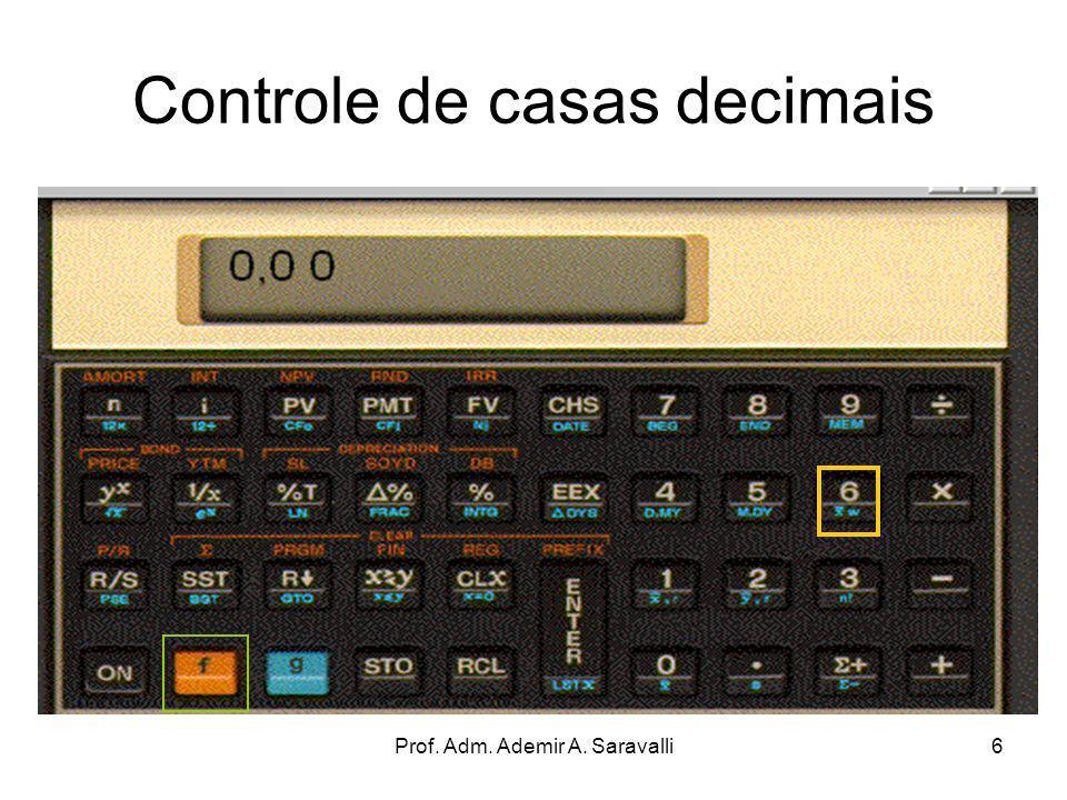 Prof. Adm. Ademir A. Saravalli6 Controle de casas decimais