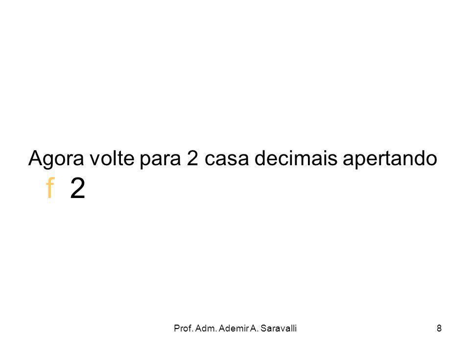 Prof. Adm. Ademir A. Saravalli8 Agora volte para 2 casa decimais apertando f 2
