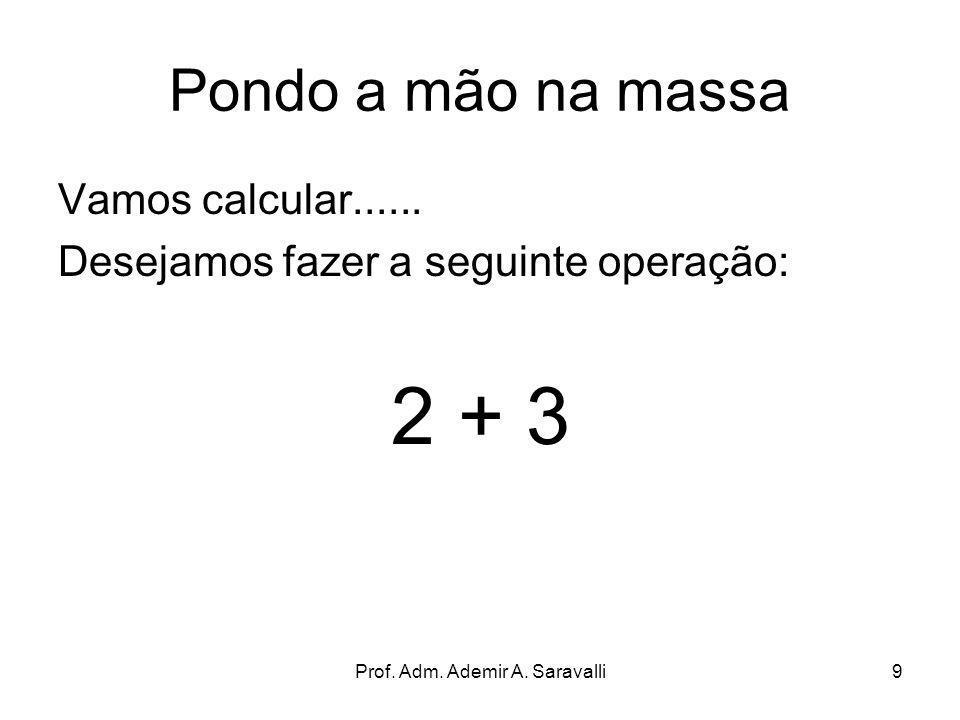 Prof. Adm. Ademir A. Saravalli9 Pondo a mão na massa Vamos calcular...... Desejamos fazer a seguinte operação: 2 + 3
