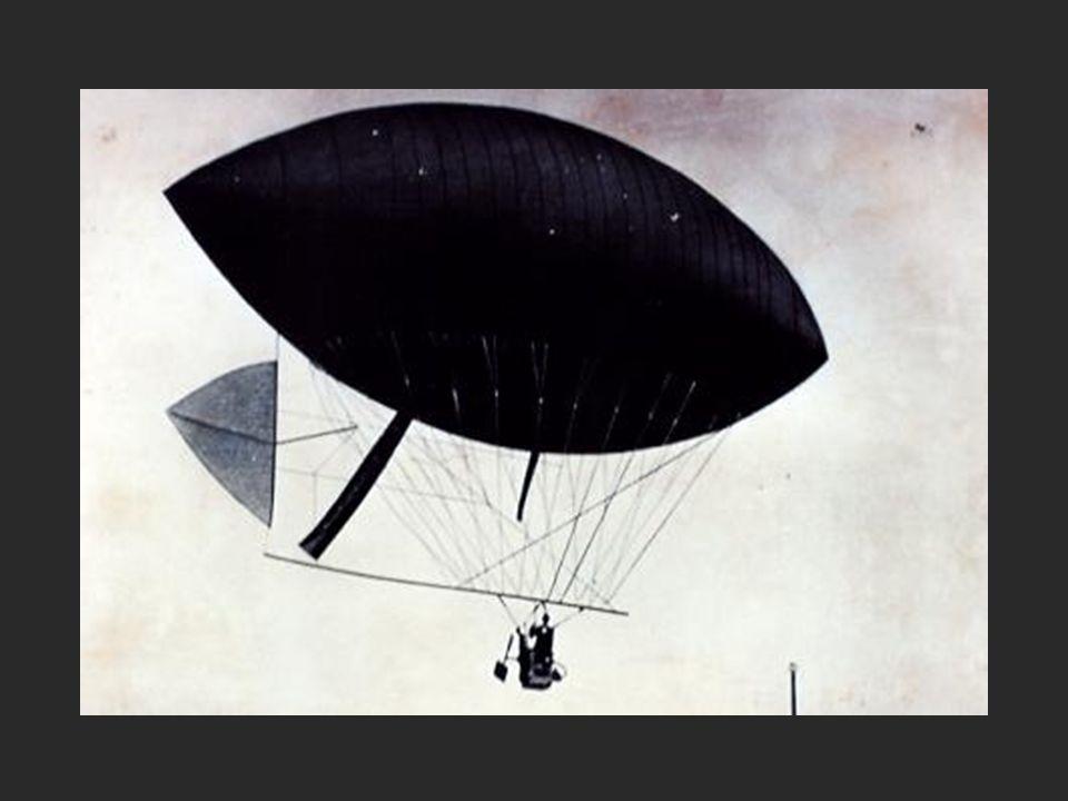 Ele criou superfícies de manejo (aletas), para dirigir os balões, e colocou neles motores com hélices !!!