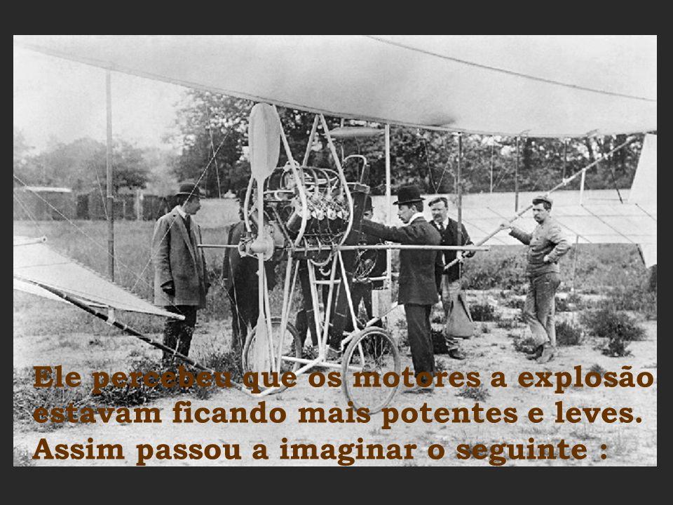 Porém Santos Dumont queria mais... Queria uma máquina que voasse, saindo do chão, indo para o céu por suas próprias asas e depois descendo com a levez