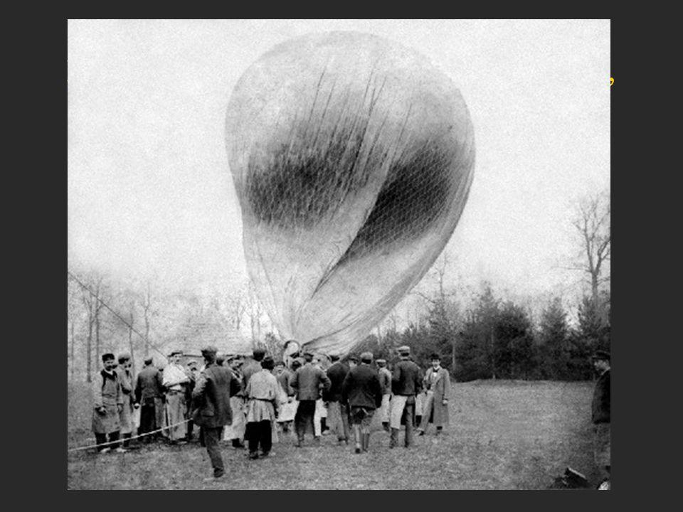 Primeiro, fez balões suspensos a gás, como os demais pioneiros da época.
