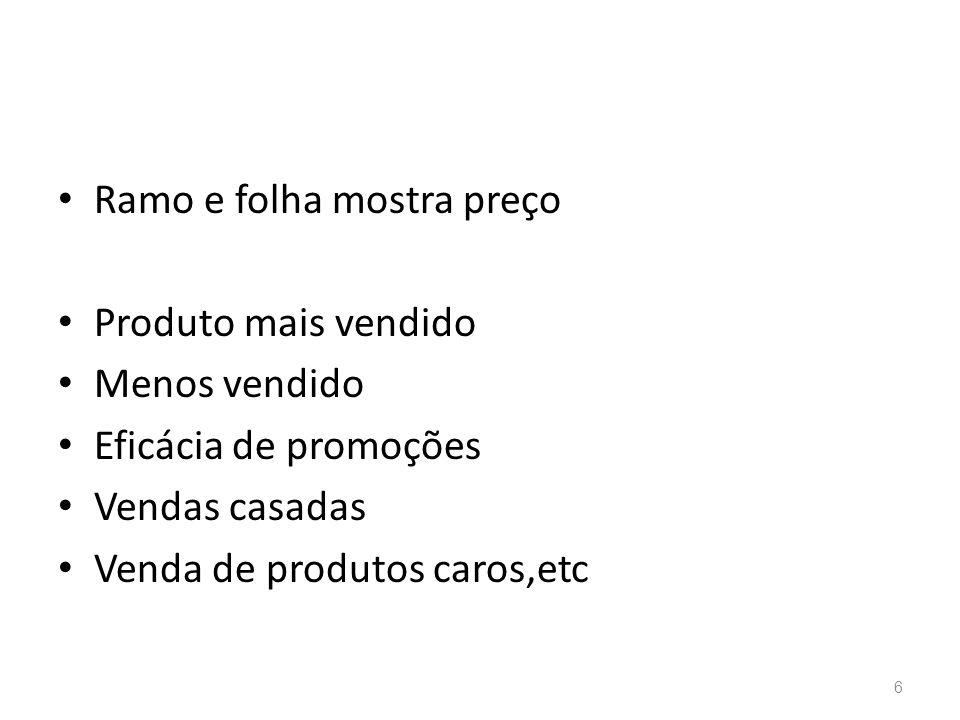 Ramo e folha mostra preço Produto mais vendido Menos vendido Eficácia de promoções Vendas casadas Venda de produtos caros,etc 6