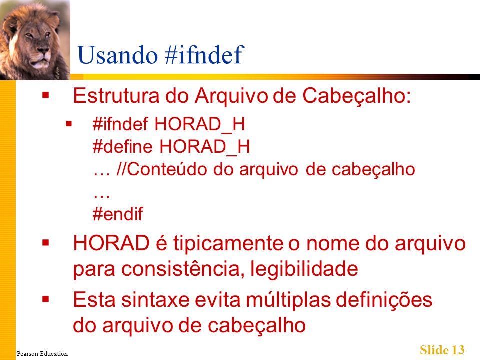 Pearson Education Slide 13 Usando #ifndef Estrutura do Arquivo de Cabeçalho: #ifndef HORAD_H #define HORAD_H … //Conteúdo do arquivo de cabeçalho … #endif HORAD é tipicamente o nome do arquivo para consistência, legibilidade Esta sintaxe evita múltiplas definições do arquivo de cabeçalho