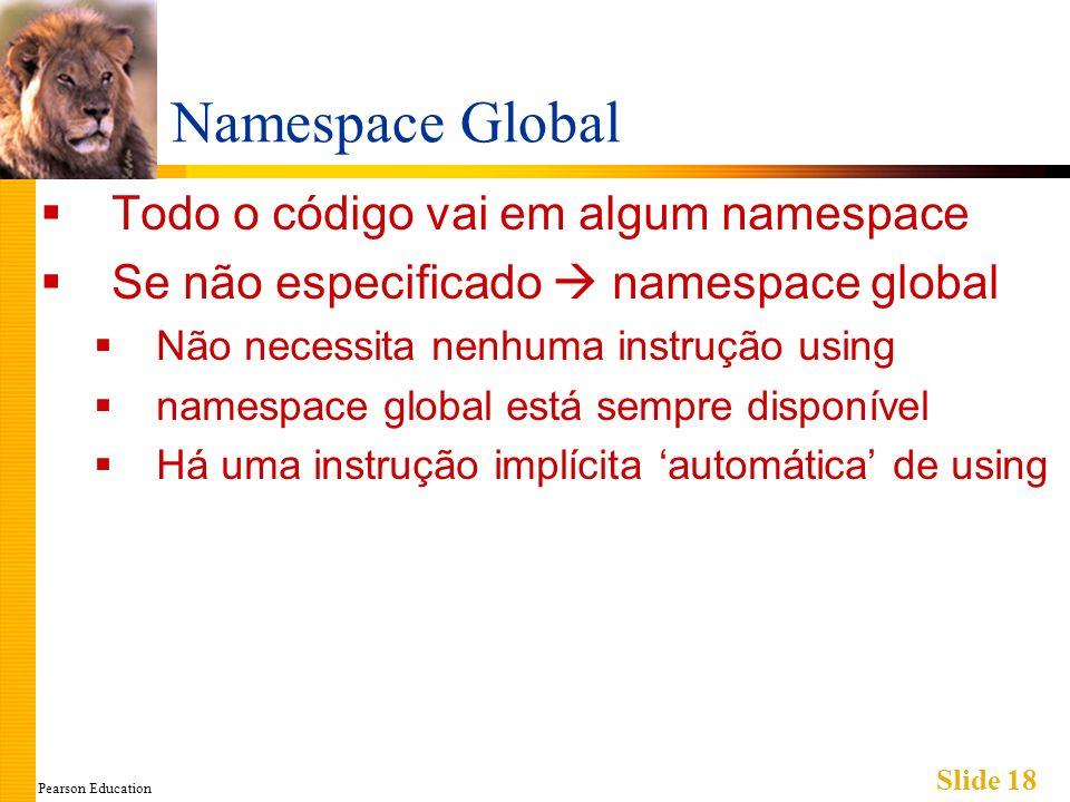 Pearson Education Slide 18 Namespace Global Todo o código vai em algum namespace Se não especificado namespace global Não necessita nenhuma instrução using namespace global está sempre disponível Há uma instrução implícita automática de using