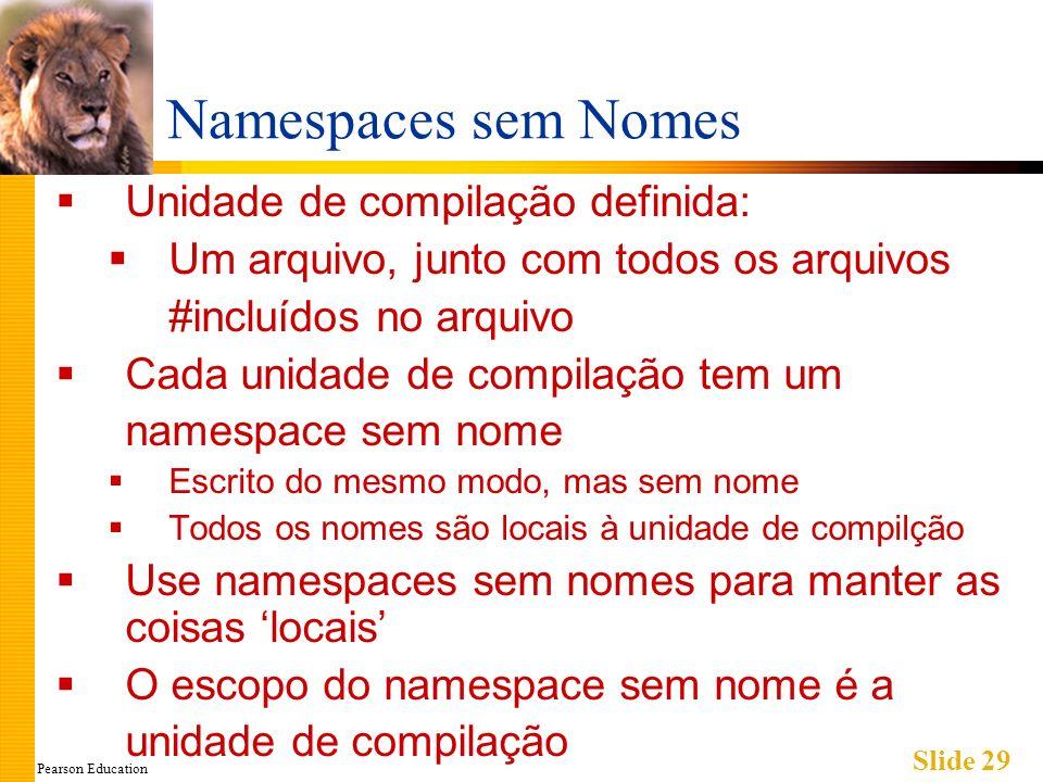 Pearson Education Slide 29 Namespaces sem Nomes Unidade de compilação definida: Um arquivo, junto com todos os arquivos #incluídos no arquivo Cada unidade de compilação tem um namespace sem nome Escrito do mesmo modo, mas sem nome Todos os nomes são locais à unidade de compilção Use namespaces sem nomes para manter as coisas locais O escopo do namespace sem nome é a unidade de compilação