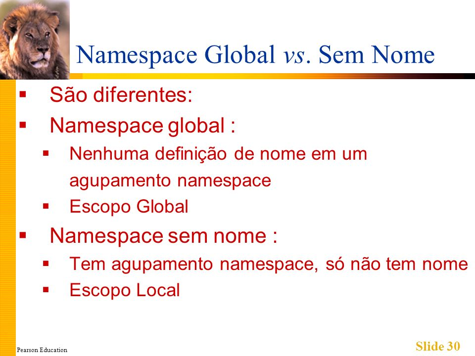 Pearson Education Slide 30 Namespace Global vs.