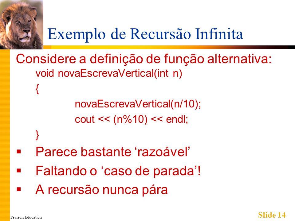 Pearson Education Slide 14 Exemplo de Recursão Infinita Considere a definição de função alternativa: void novaEscrevaVertical(int n) { novaEscrevaVertical(n/10); cout << (n%10) << endl; } Parece bastante razoável Faltando o caso de parada.