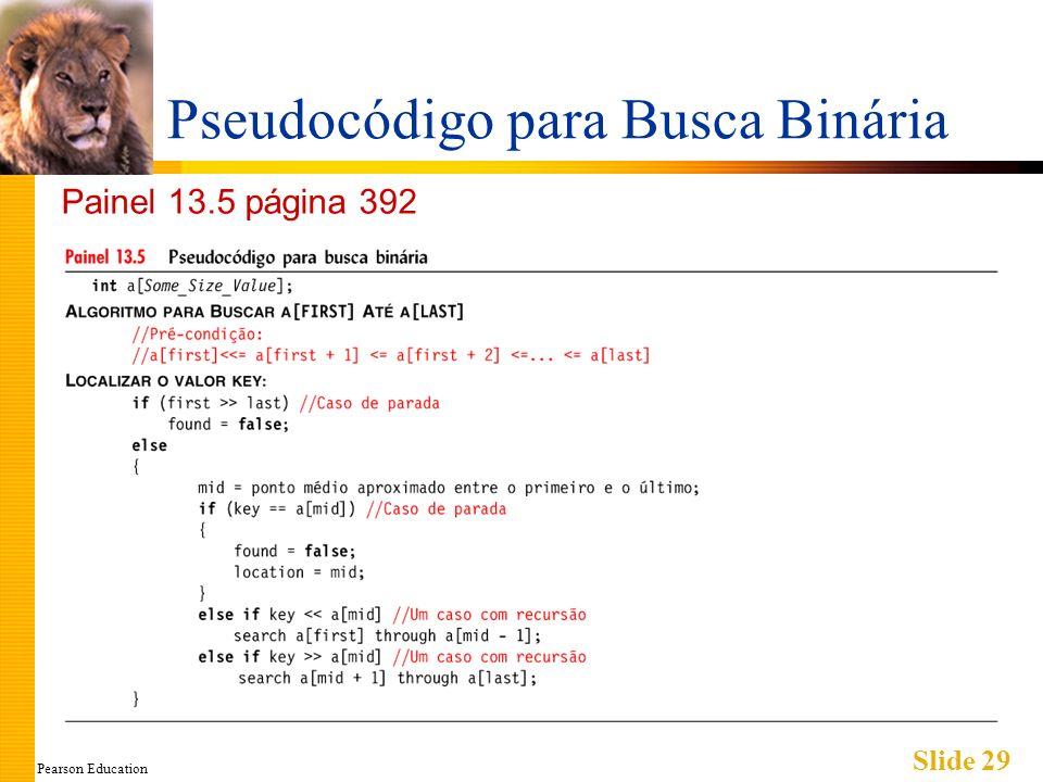 Pearson Education Slide 29 Pseudocódigo para Busca Binária Painel 13.5 página 392